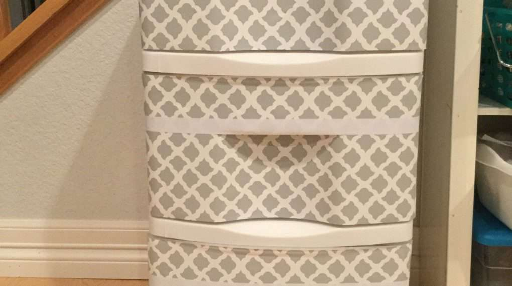 I have these 3 drawer storage containers several places in our home. Sometimes I like that I can see what's in the drawer, and other times I do not. I came up with an easy and inexpensive way to upcycle the drawers - hiding what's inside and giving it a face lift at the same time.