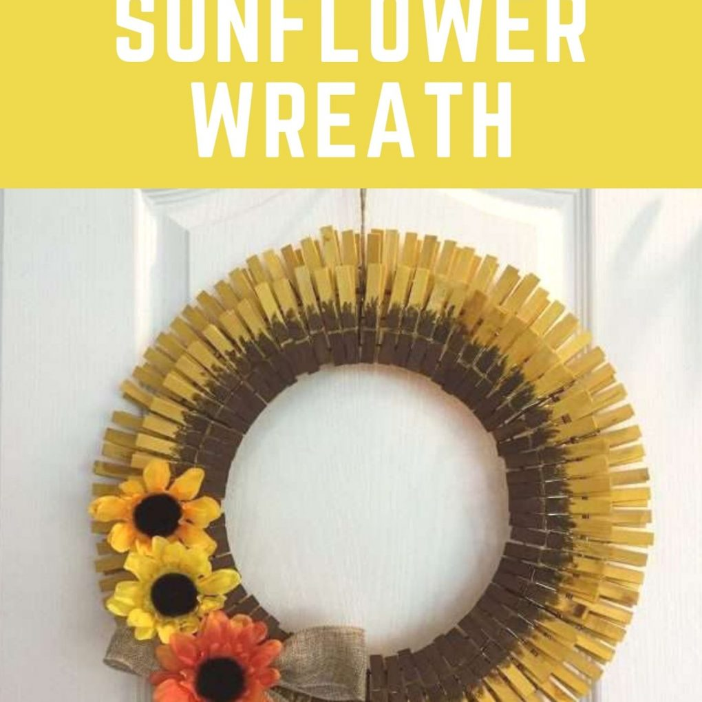 diy clothespin sunflower wreath pin image