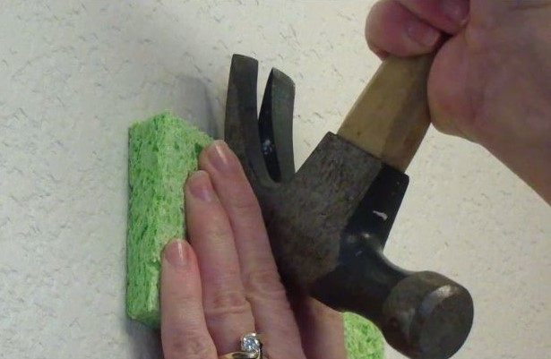 Place your sponge between the wall and the hammer. Pull the nail out while protecting the wall with your sponge from the metal on the hammer.