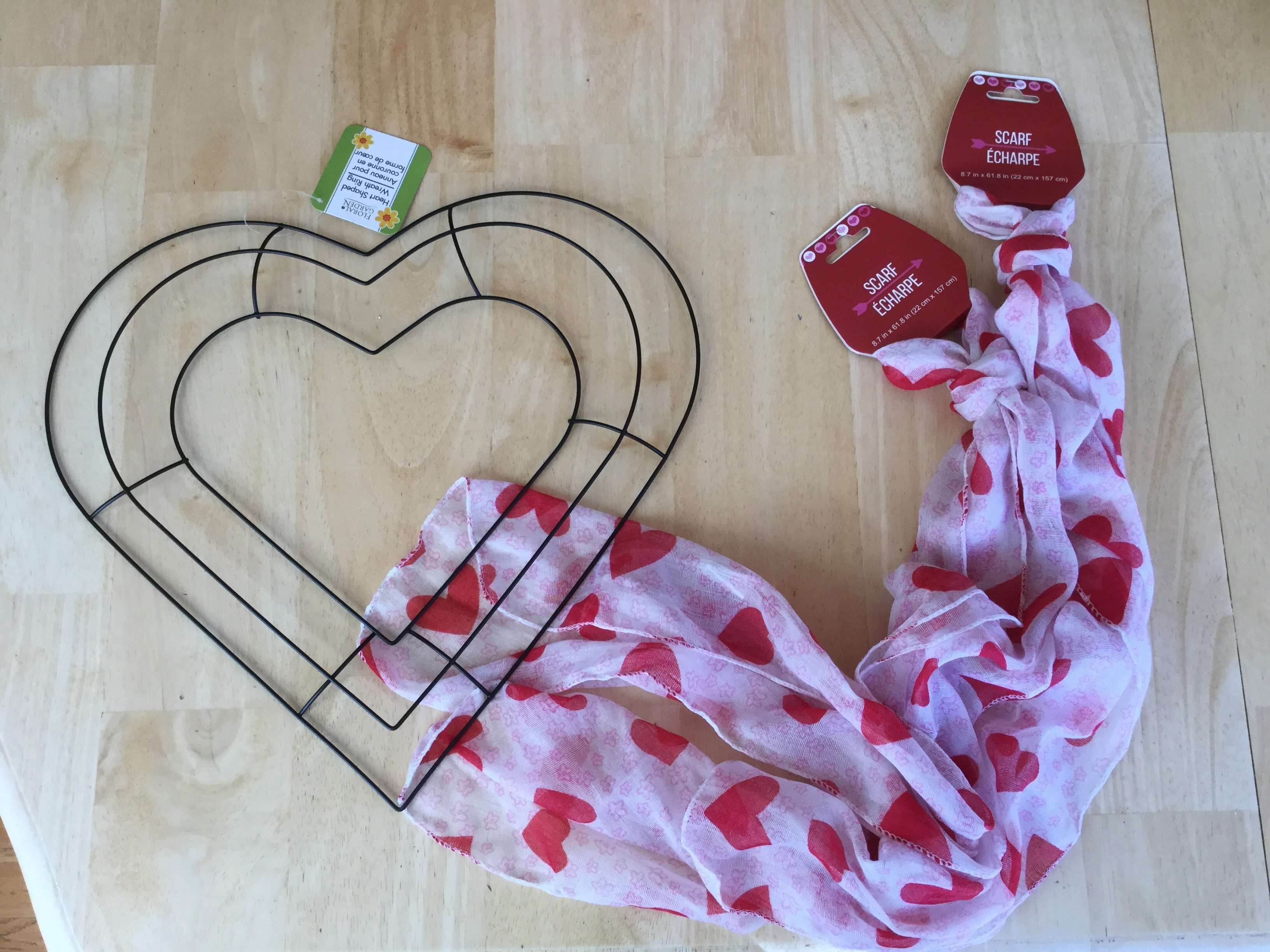 To create your Dollar Tree Heart Wreath you'll need: