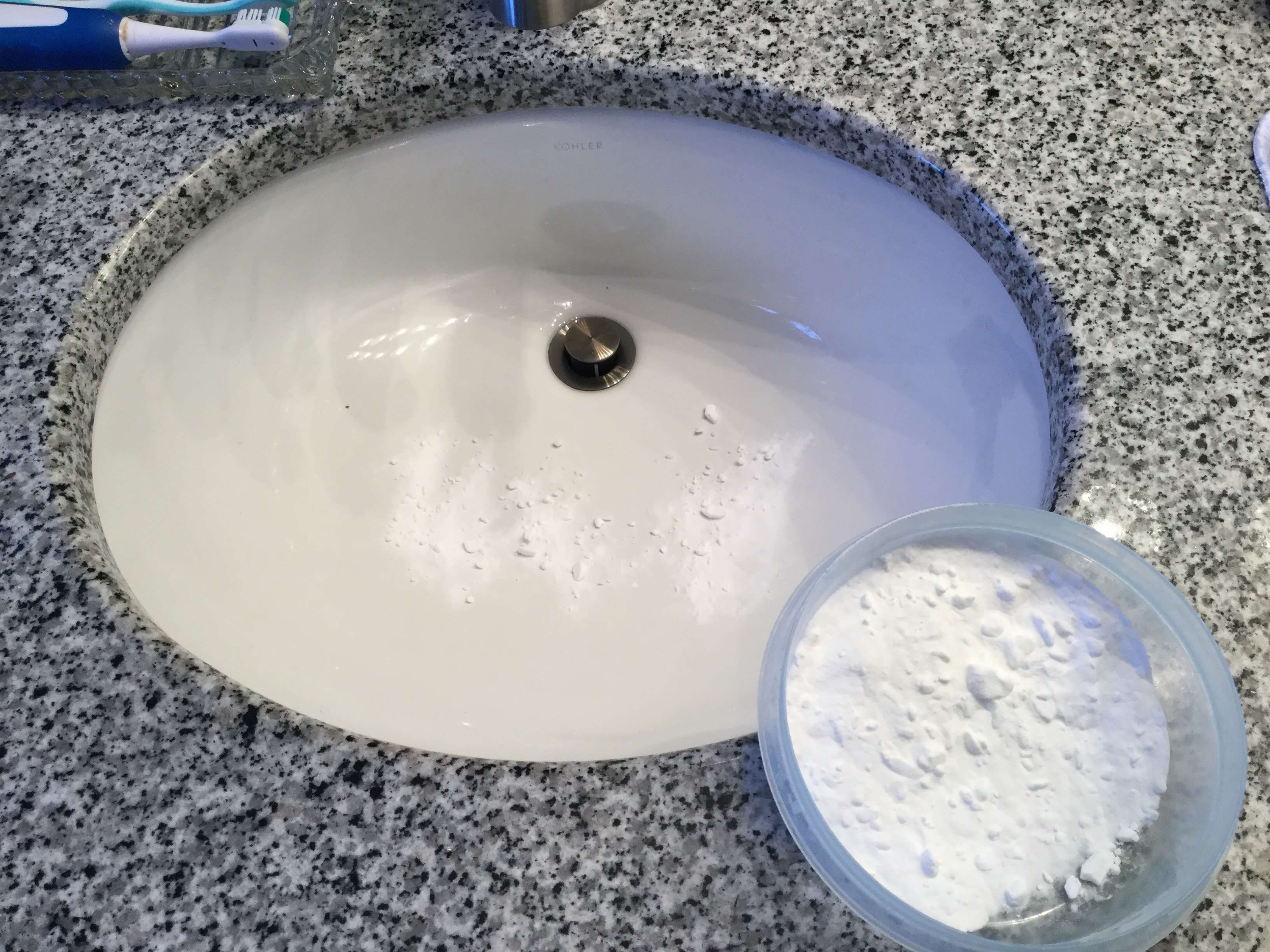 Sprinkle with baking soda, scrub it clean, and rinse.
