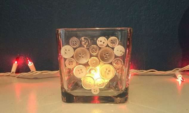 Heart Button Art Candle Holder