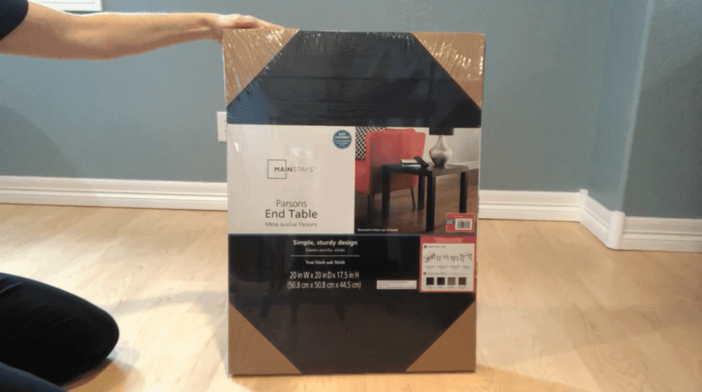 To start you'll need 3 Parson's End Tables and I purchased mine at Walmart. They are usually $10 each, but I ordered them online for in store pick up and I got a discount!