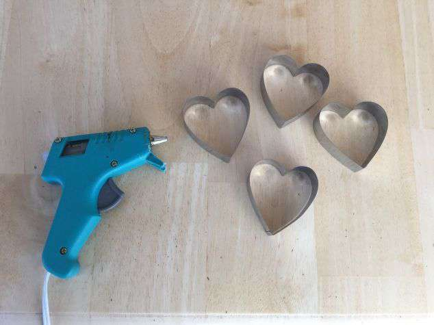 You will need: 4 heart shaped cookie cutters Hot glue gun or glue of your choice
