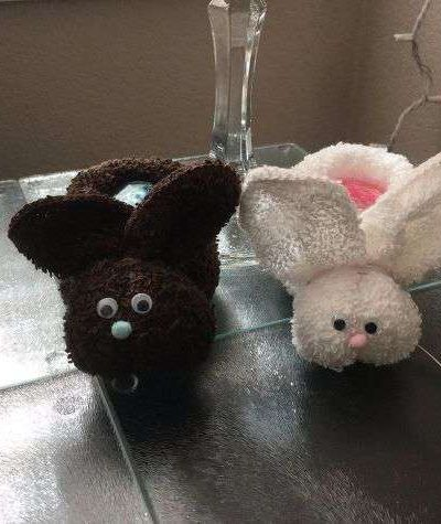 Use different colored wash clothes for different colored bunnies.