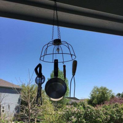 I had some of both my husband's grandma's and my grandma's utensils from the kitchen. I finally decided how I was going to display them - A Solar Windchime