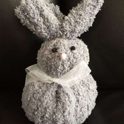 This bunny was made with a dollar tree stocking cap. I made it a couple years ago. I will be doing my follow along instructions with my current stocking cap that I wear every day during the winter.