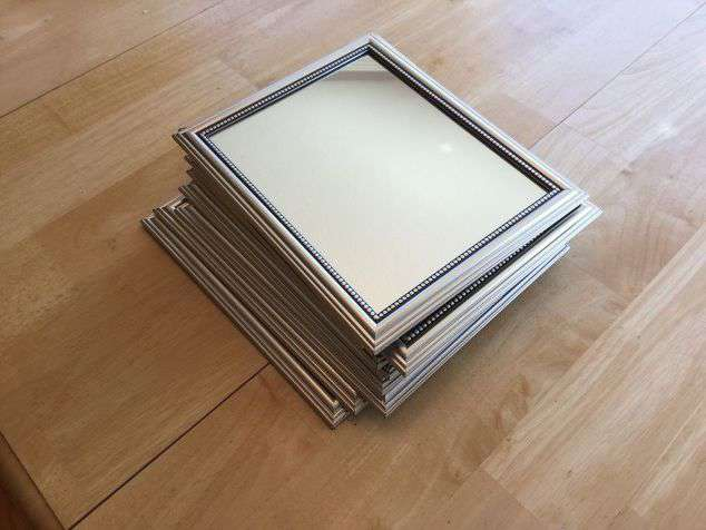 I ran to Dollar Tree and purchased 9 mirrors, and 2 pieces of black poster board. Total - $11