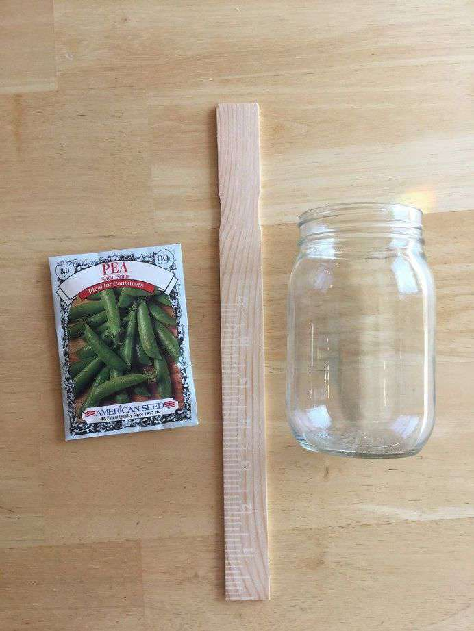 First Garden Marker - you'll need your packet from your seeds, paint stir stick (or stick, skewer, plastic kitchen spoon, etc. - something to be a stake), and glass jar.