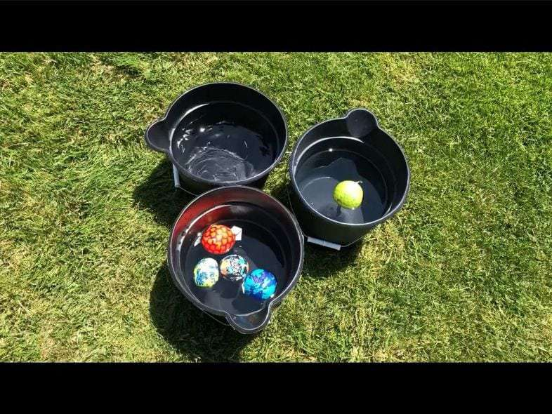 Place three of your buckets in a pyramid shape on opposite sides of your yard. You can decide how far apart you want to place them by the age of those playing. Add some water balls and it's up to you how many each player/team gets.