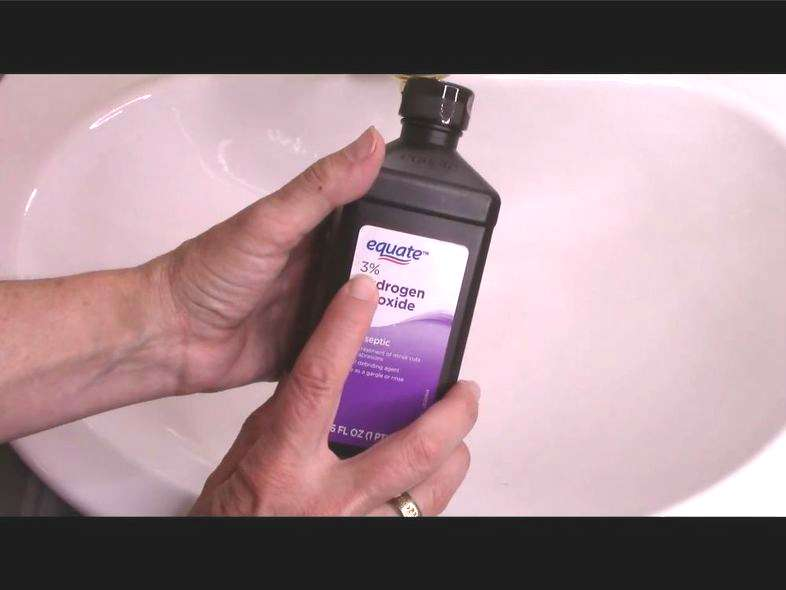 The magic ingredient is Hydrogen Peroxide and it needs to be no more than 3% which is usually the kind you can pick up at any regular store. Hydrogen Peroxide contains antimicrobial ingredients and is very biodegradable. Put your Hydrogen Peroxide in a squirt bottle.