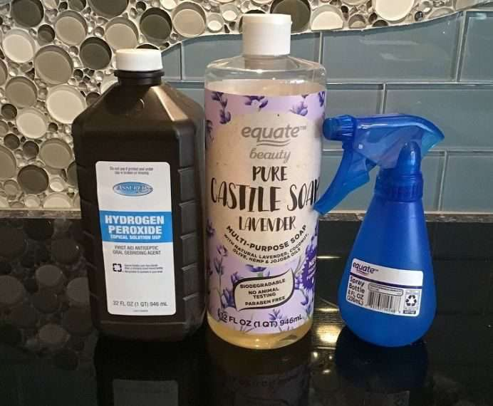 Mix 1/2 cup Castile Soap with 1 cup Hydrogen Peroxide (be sure to use the 3% kind you can buy at the store) and place in a dark squirt bottle.