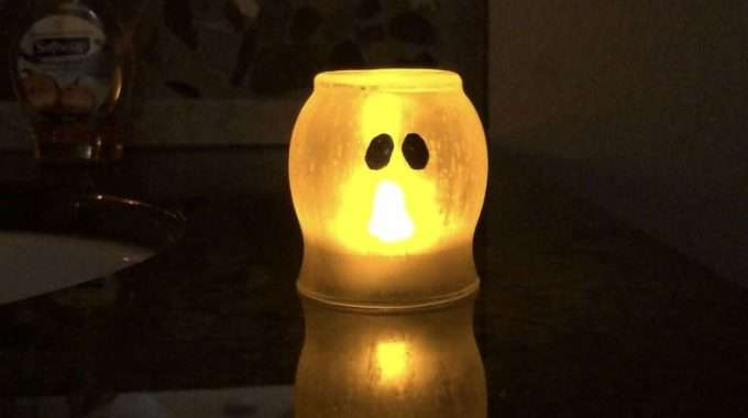 Candle Holder to Etched Glowing Ghost
