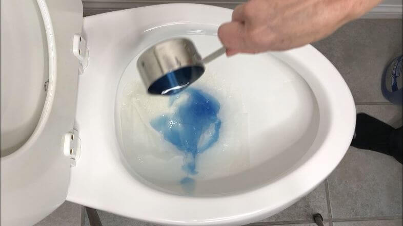 For clogged toilets (I used a lot of toilet paper to create a clogged toilet), pour in 1 cup dish detergent and let that sit for a couple minutes.