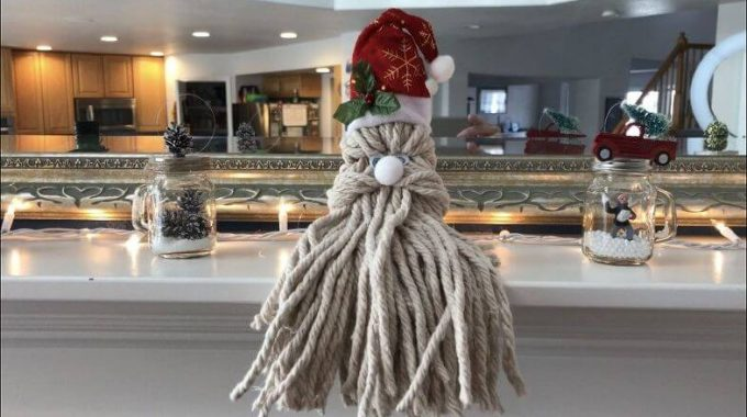 Make A Santa Head Out of a Mop