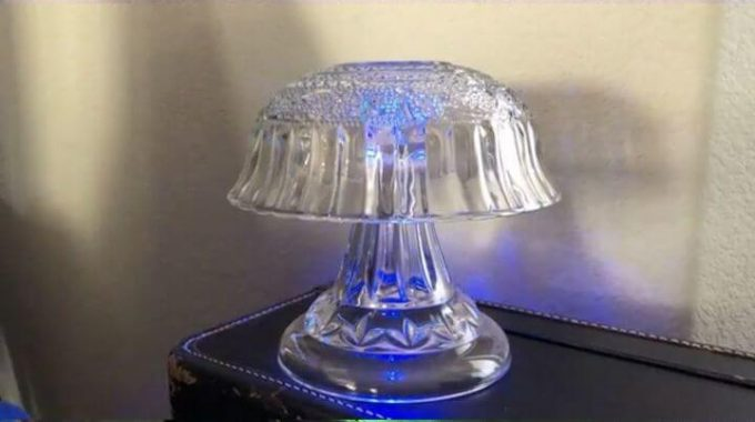 Upcycled Broken Cake Stand to Color Changing Lamp