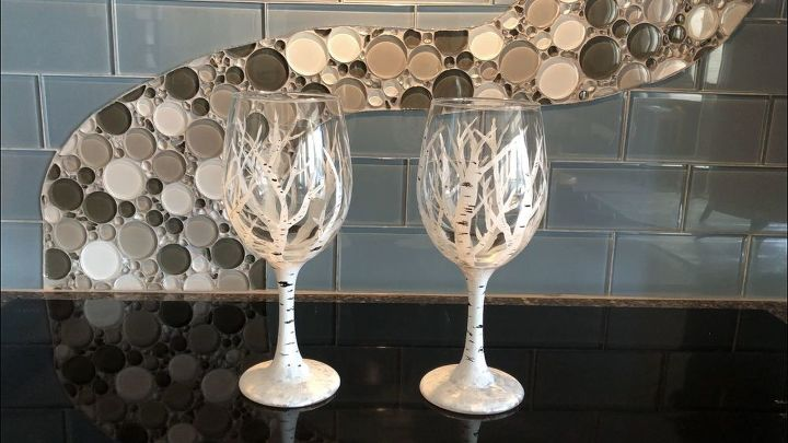 Winter Aspen and Birch Tree Wine Glasses