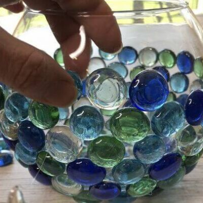 7 Easy Garden Globes & Gazing Balls (11) dollar store rocks on bud vase