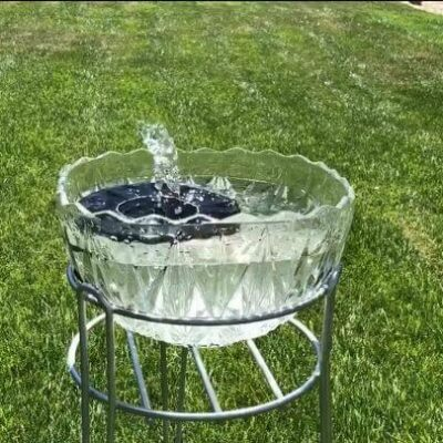 Here's a picture of the fountain running. Be sure to refill the water as it evaporates. I also clean out the class and wash off the fountain as needed.