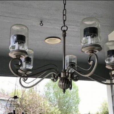 DIY Upcycled Porch Decor (6) Solar Chandelier