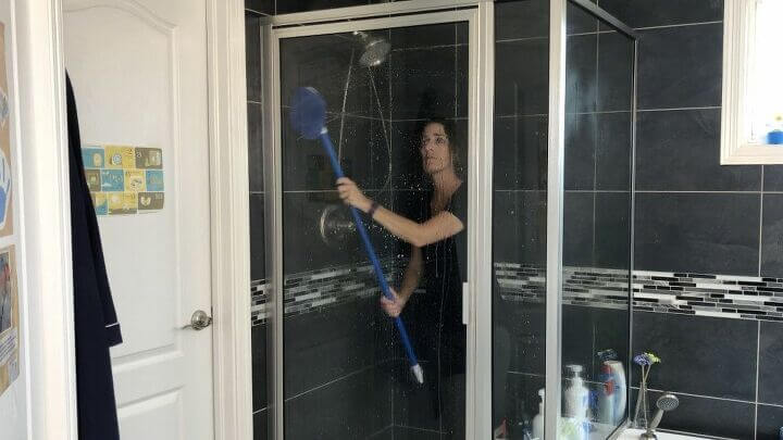 I spray it on my shower tile and glass. Then I use the Clorox extendable tub and tile scrubber to clean my glass and tile without bending over.