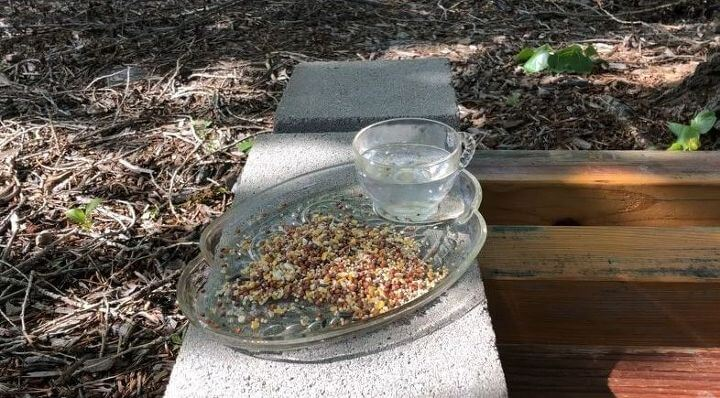 Silicone a vintage cup and plate together and let that dry. Put bird seed on the plate, water in the cup, and set it somewhere outside.
