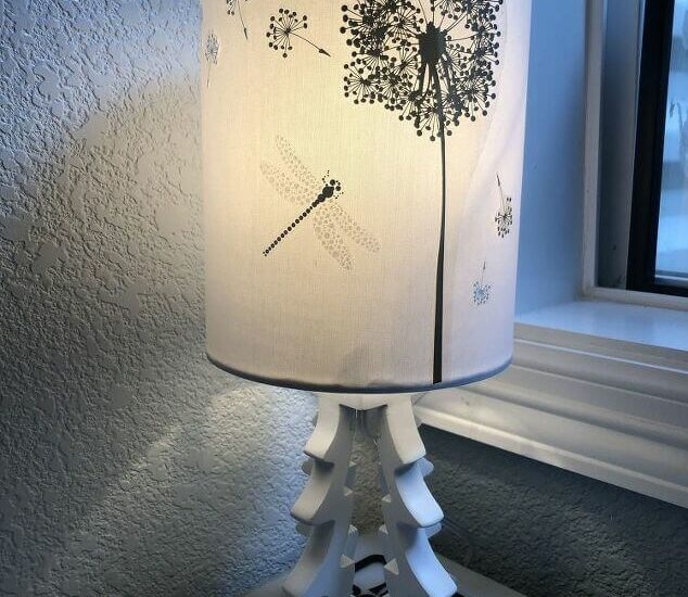 I bought this lamp on clearance and I had some stickers that I got from Dollar Tree. I decided to use the stickers on the lampshade of my lamp and love it!