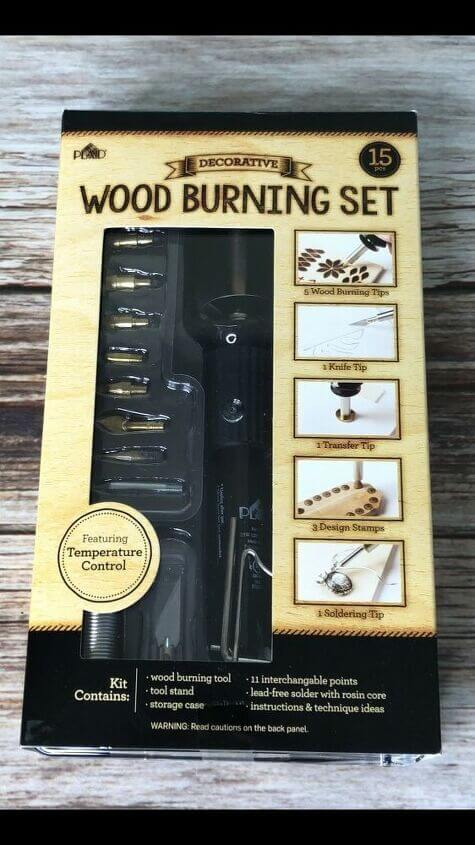 I have a Plaid Wood Burning Tool Kit for my projects and it comes with the wood burning tool, plus accessories for a variety of ways to wood burn.