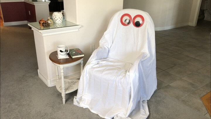 I added 2 google eyes I found at Dollar Tree and my ghost chair was done.