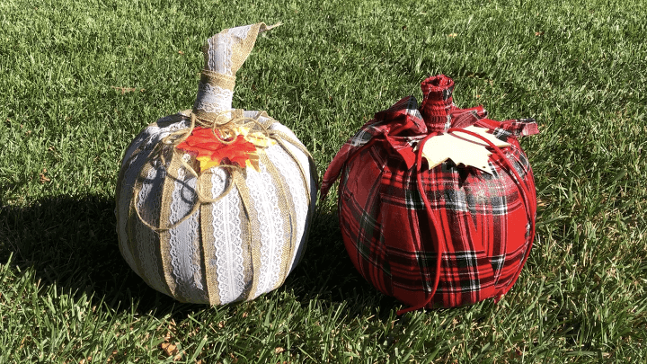 Here are the displays of the ribbon and fabric pumpkins.