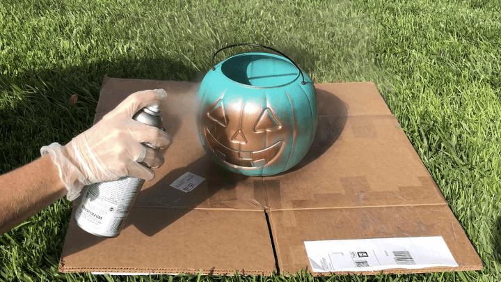 Pumpkin #2 - I sprayed this pumpkin with Rustoleum Copper spray paint and let that dry.