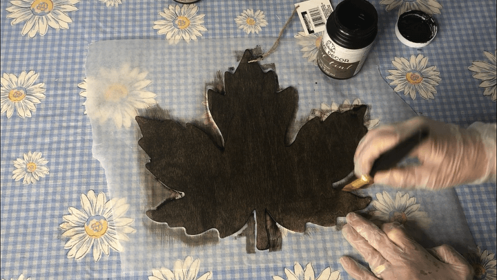 I stained the large leaf with Folk Art Home Decor Wood Tint in the color Walnut and let it dry.