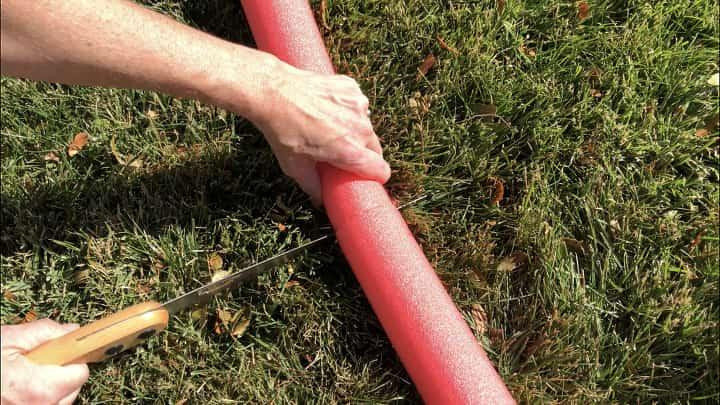 Hiding Elf - I cut a red pool noodle in half.