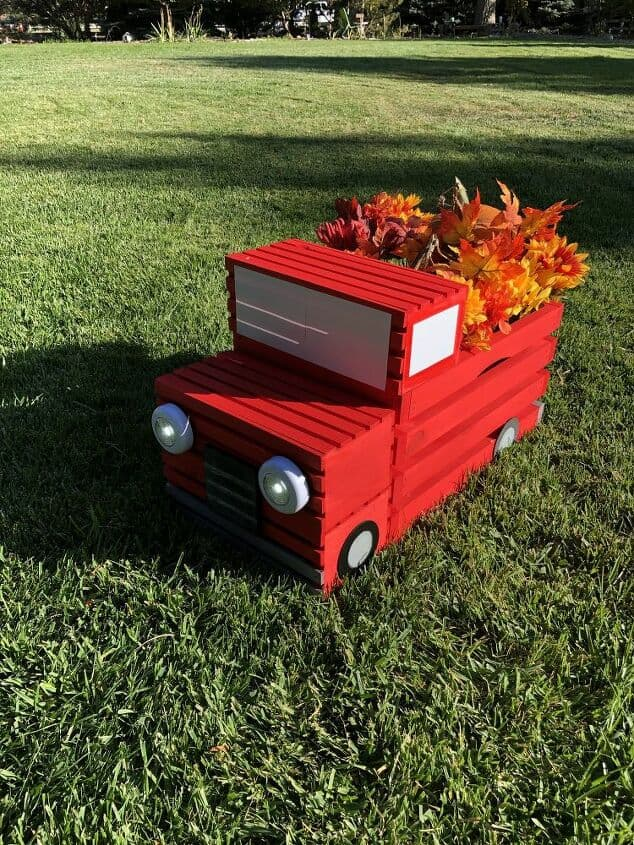 DIY Crate Red Pickup Truck by Chas' Crazy Creations