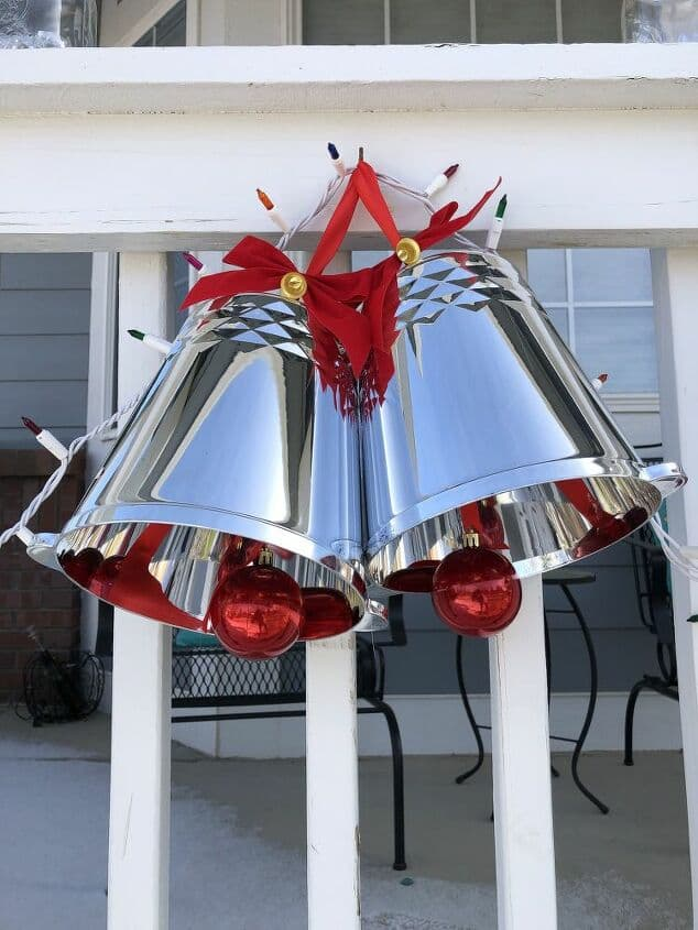 I hot glued some red ribbon on the top so that I could hang the silver bells outside on a hook.