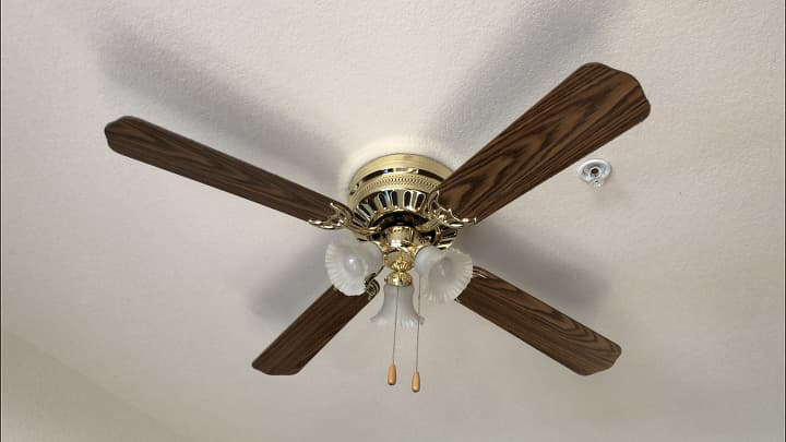 Here is the original dated ceiling fan.