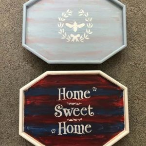 Once the trays were dry, I coated them with Folk Art Home Decor Varnish to protect it. I love how these 2 arm tables turned out.