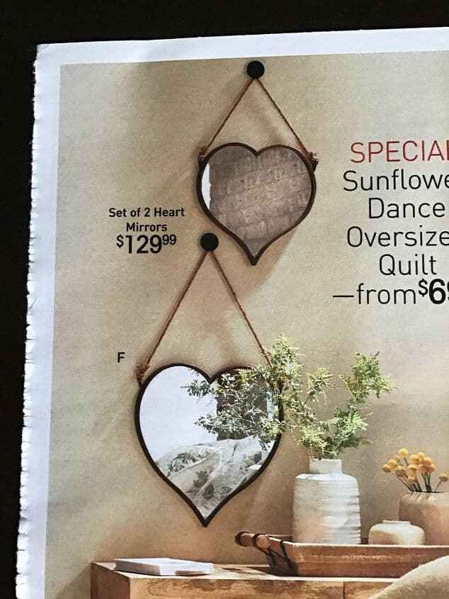 I fell in love with these heart mirrors in a magazine but $129 was way out of my price range.