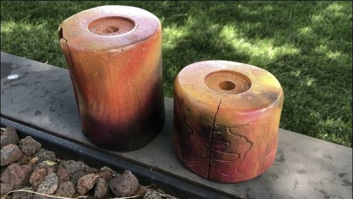 Here are the original candle holders from the free pile. They are made from real trees.
