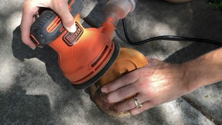 I started by sanding off the original paint and clear coat on them. I wanted to get them back down to their raw form. *I used my Black & Decker Orbital Sander, along with my protective eye wear.