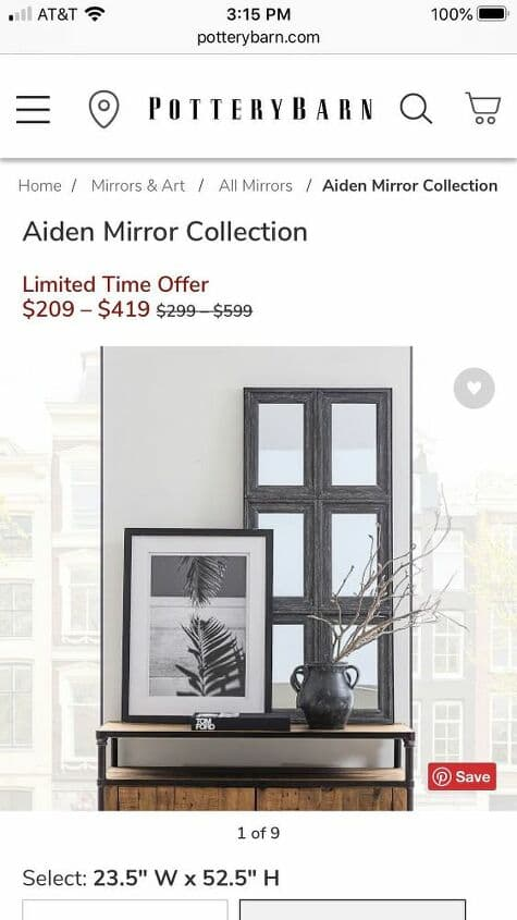 Here is the picture of the original at Pottery Barn. Do you see the price?!!!