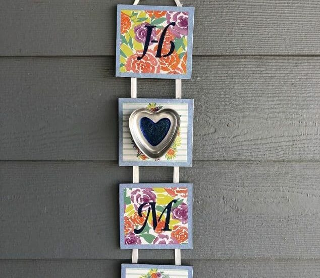 I was at Dollar Tree and found a sign being clearanced out for .50, after that an old jello mold at a thrift store for .50. Using these 2 items plus some materials on hand, I was able to create a cute sign for the spring season for my home.