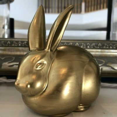 I also am thrilled that he'll compliment the other thrift store bunny that I painted silver. You can find that post here - https://chascrazycreations.com/upcycled-thrift-store-bunny/