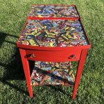 Our family loves superheros and my son wanted to update his room. I found this little old table on Facebook Marketplace for $10, and with a little paint, superheros, and a little love we gave this side table a makeover.