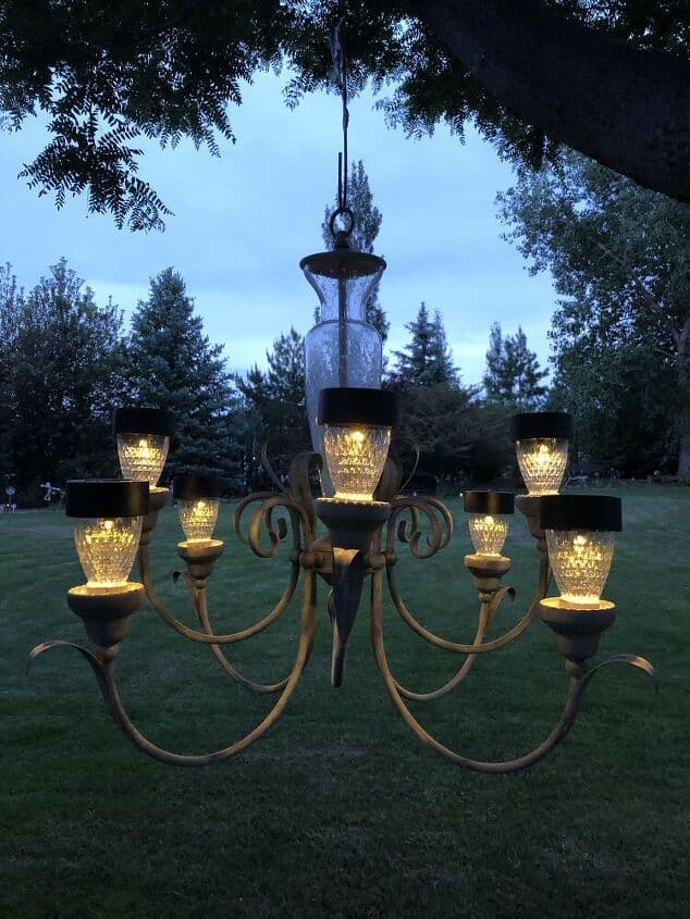 Many people know I love thift stores and solar lights. Put them together and I can create some great things for my yard. Do you have an old chandelier you don't know what to do with? I picked up a few from thrift stores, Facebook Marketplace, and Nextdoor.com, and I'm turning them into solar chandeliers.