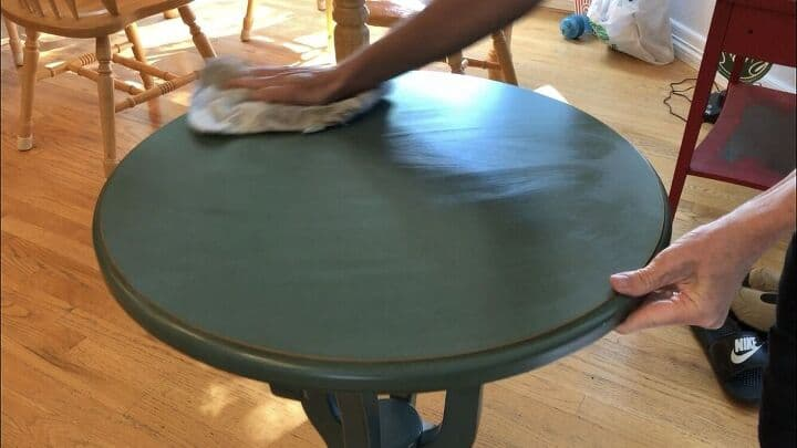 I cleaned the table from top to bottom with Krud Kutter. This would also prepare the top for stenciling.