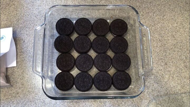 I placed the oreos in the bottom of the pan.