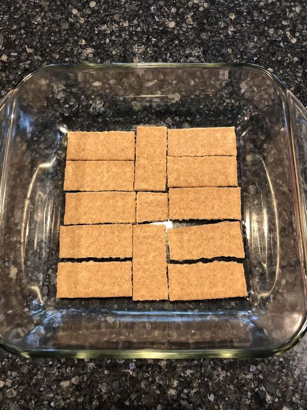 I placed graham crackers on the bottom of a square baking pan.