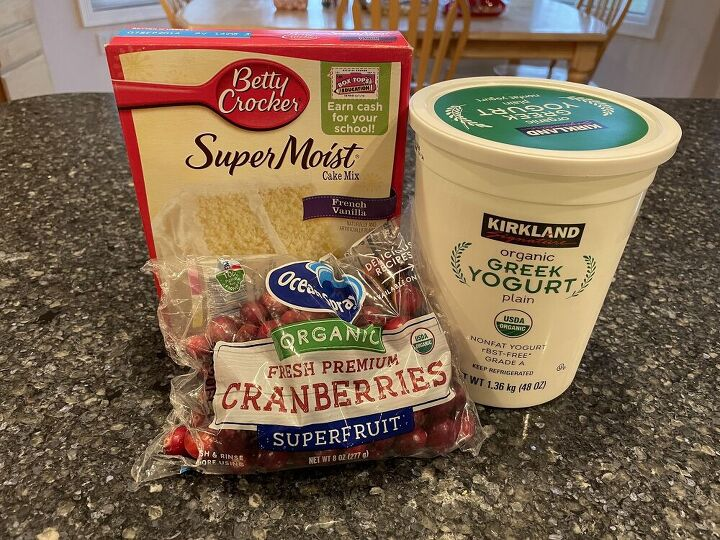 A box of cake mix of your choice Plain Greek yogurt A mix in of your choice, and I'll be using cranberries