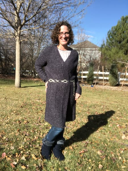 Sometimes I want my sweater to stay closed so I add a belt to it as you can see in this picture. It also helps show off your waistline.